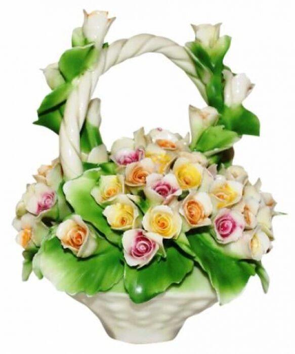 Декоративная корзина с ручкой с разноцветными розами Artigiano Capodimonte- 0