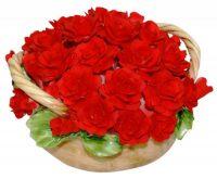 """Декоративная корзина с двумя ручками  Artigiano Capodimonte """"Красные розы"""""""