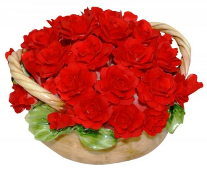 """Декоративная корзина с двумя ручками  Artigiano Capodimonte """"Красные розы"""" - 0"""