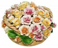 """Декоративная корзина с двумя ручками  Artigiano Capodimonte """"Разноцветные розы"""""""