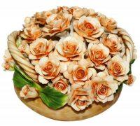 "Декоративная корзина с двумя ручками  Artigiano Capodimonte ""Бежевые розы"""