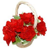 Декоративная корзинка с красными розами Artigiano Capodimonte