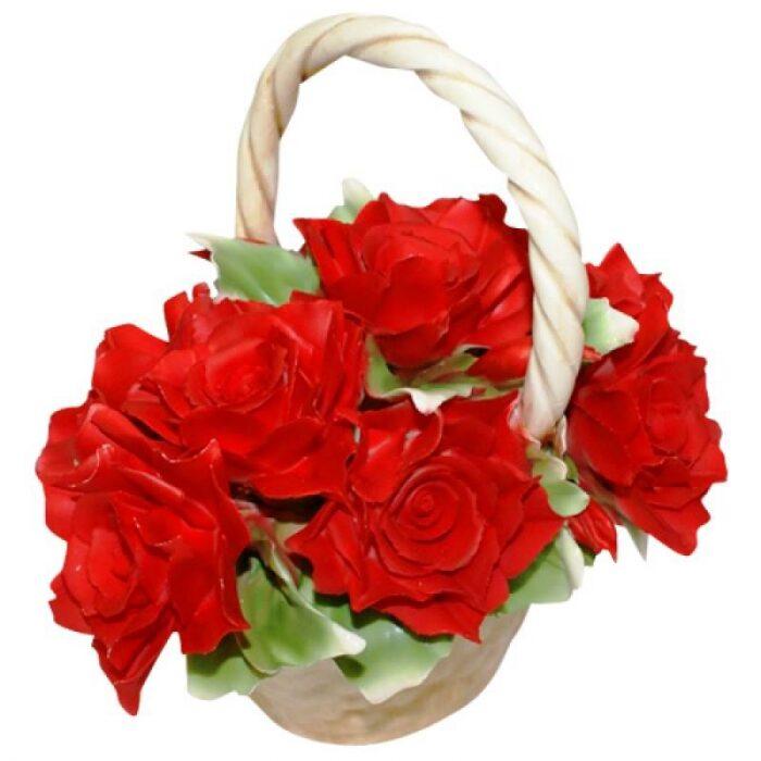 Декоративная корзинка с красными розами Artigiano Capodimonte- 0