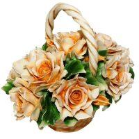 Декоративная корзинка с чайными розами Artigiano Capodimonte