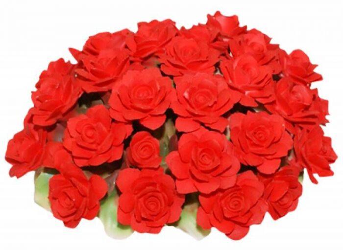 Декоративная корзина с розами, красная Artigiano Capodimonte- 0