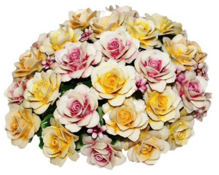 Декоративная корзинка с розами, разноцветная Artigiano Capodimonte- 0