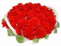 Декоративная корзина с красными розами с двумя ручками Artigiano Capodimonte