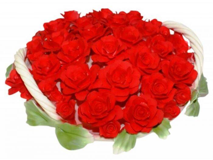 Декоративная корзина с красными розами с двумя ручками Artigiano Capodimonte- 0