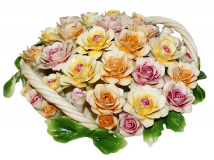 Декоративная корзина с разноцветными розами с двумя ручками Artigiano Capodimonte- 0