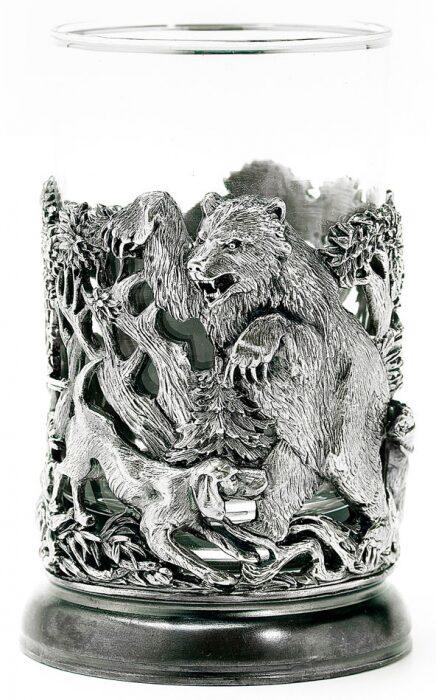 """Подстаканник """"Охота на Медведя"""" посеребрение- 1"""