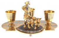 """Набор для коньяка на подставке """"Охотник с собакой"""" (Златоуст)"""