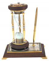 """Песочные часы с подставкой """"Доблесть, честь, отвага"""" в золоте"""