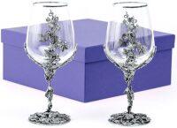 "Набор 2 бокала для вина ""Виноград"", посеребрение"