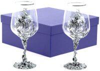 """Набор 2 бокала для вина """"Цветок"""", посеребрение"""