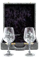 """Набор 2 бокала для вина """"Цветок"""", посеребрение, кожаный футляр"""
