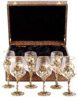 """Набор 6 бокалов для вина """"Цветок"""", кожаный футляр"""