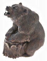 """Скульптура из камня """"Медведь на пне"""" (кальцит)"""