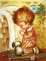 """Янтарная картина """"Мальчик перед сном"""""""