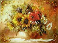 """Картина из янтаря """"Букет полевых цветов"""""""