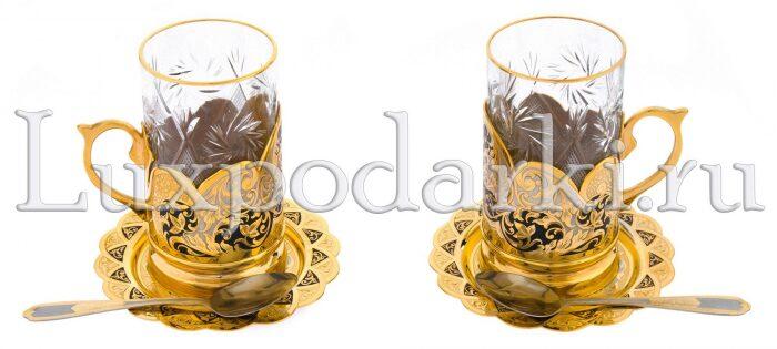 """Чайный набор """"Узорный"""" на 2 персоны (Златоуст)- 1"""