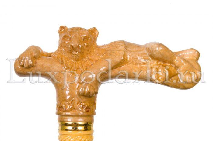"""Трость со стилетом """"Лев"""" - (рукоять - резное дерево, самшит)- 1"""