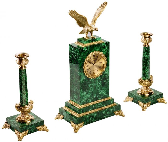 """Каминные часы с подсвечниками """"Орел"""", малахит- 0"""
