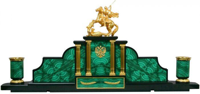 """Настольный набор руководителя из камня """"Георгий Победоносец"""" (малахит)- 1"""