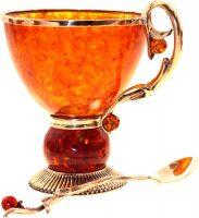 """Чашка чайная из янтаря """"Саламандра"""""""