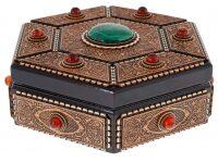 Шкатулка из бересты шестиугольная (малахит и янтарь)