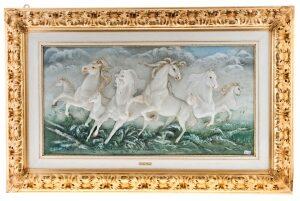 """Барельеф  Porcellane Principe """"Бегущие кони"""""""