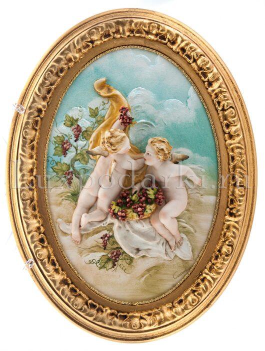 """Барельеф  Porcellane Principe """"Ангелочки с виноградом""""  цветной- 0"""