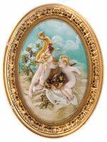 """Барельеф  Porcellane Principe """"Ангелочки с виноградом""""  цветной"""