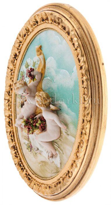 """Барельеф  Porcellane Principe """"Ангелочки с виноградом""""  цветной- 1"""