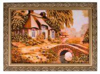 """Картина из янтаря """"Дом в цветах"""""""