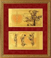 """Картина на сусальном золоте """"Деньги времен Древней Греции"""""""