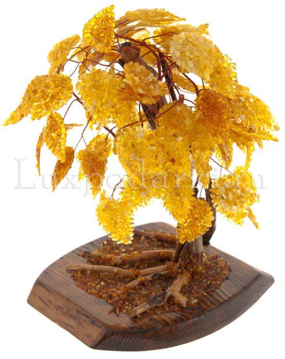 """Сувенир из янтаря """"Денежное дерево"""" (16 веток) (светлое)- 1"""