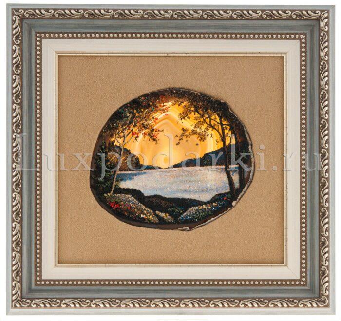 """Картина на агате """"Горное озеро""""- 0"""