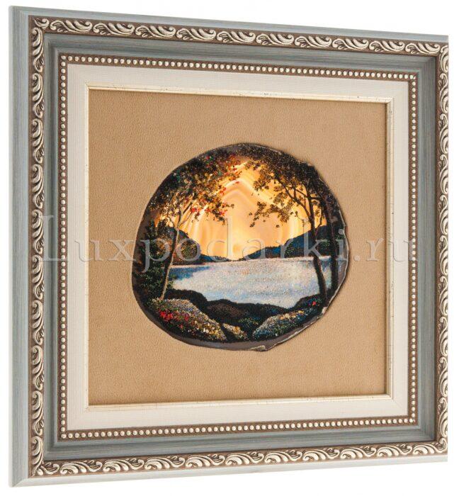 """Картина на агате """"Горное озеро""""- 1"""