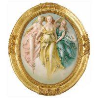 """Барельеф  Porcellane Principe """"Три грации""""  в цвете"""