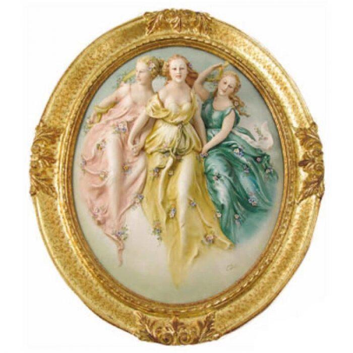 """Барельеф  Porcellane Principe """"Три грации""""  в цвете- 0"""