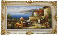 """Картина  Bertozzi Cornici """"Терраса в цветах"""" , цвет: слоновой кости с золотым декором"""