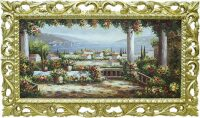 "Картина  Bertozzi Cornici ""Прибрежный город"" , рамка: дерево золотого цвета"