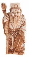"""Сувенир из бивня мамонта """"Бог Счастья с посохом"""""""