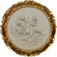 """Барельеф  Porcellane Principe """"На лугу"""" , цвет рамки: золотой"""