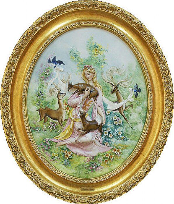 """Барельеф  Porcellane Principe """"Девушка с оленятами"""" - 0"""