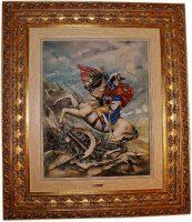 """Барельеф  Porcellane Principe """"Наполеон"""" , цвет: разноцветный в рамке золотого цвета"""