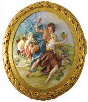 """Барельеф  Porcellane Principe """"Бахус и Ариадна""""  в цвете"""