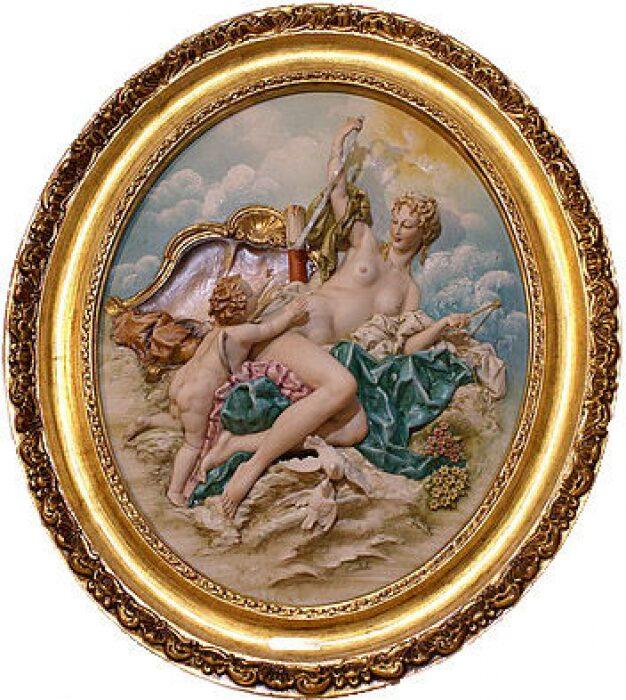 """Барельеф  Porcellane Principe """"Венера и купидон""""  в цвете- 0"""