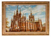 """Картина из янтаря  """"Католический храм"""""""