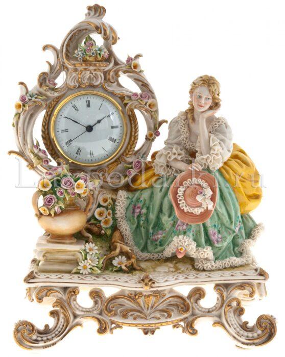 """Часы  Porcellane Principe """"Дама на скамье"""" - 0"""